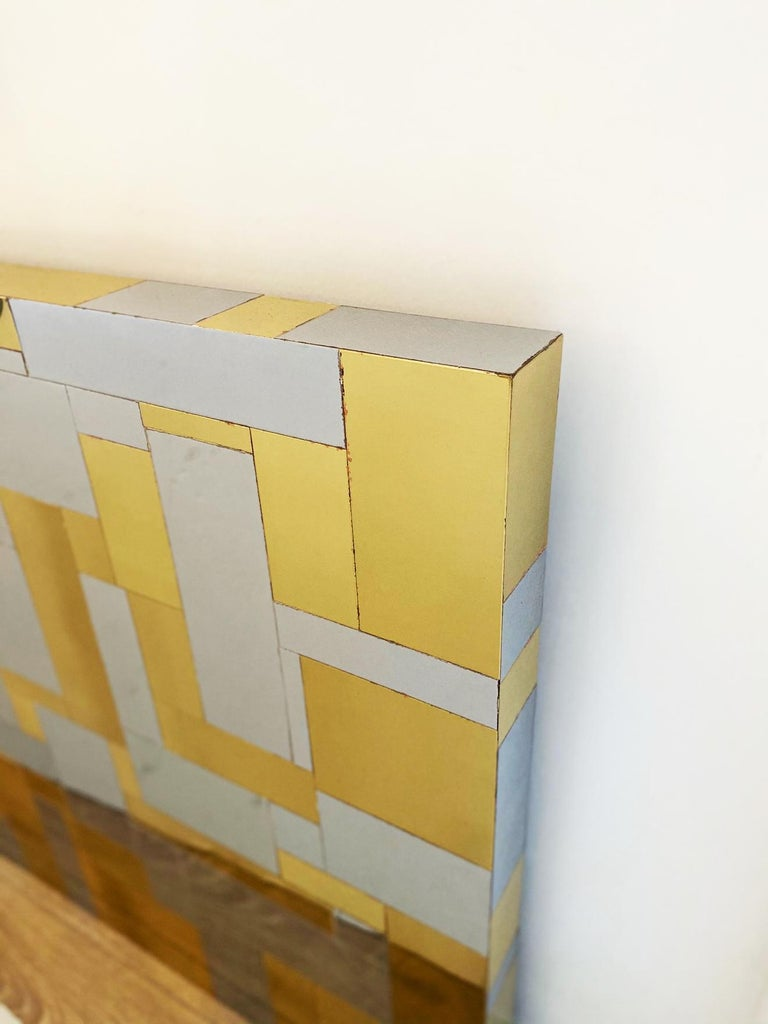 Mid-Century Modern Wall Mounted Headboard in Chrome and Brass by Paul Evans For Sale