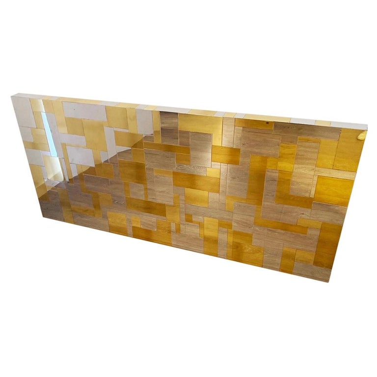 Wall Mounted Headboard in Chrome and Brass by Paul Evans For Sale