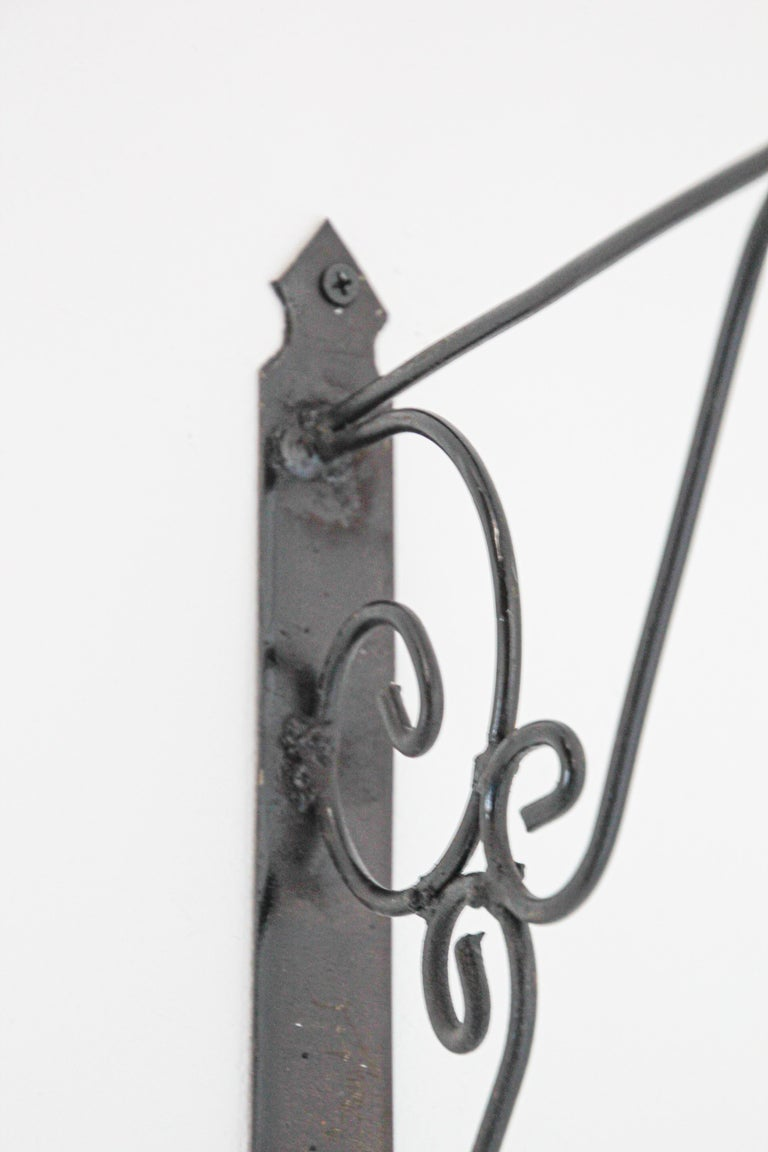Hand-Crafted Wall Mounted Iron Bracket for Lanterns or Signs For Sale
