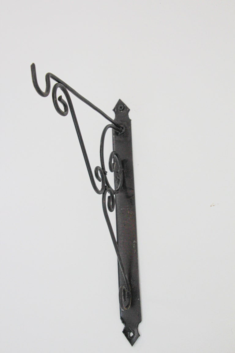 Wall Mounted Iron Bracket for Lanterns or Signs In Good Condition For Sale In North Hollywood, CA