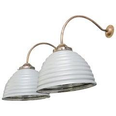 Wall Mounted Mercury Glass Lights, circa 1930s