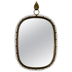 Wall-Mounted Mirror with Brass Loop Frame by Josef Frank, Sweden, 1950s