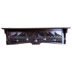 Wall-Mounted Oak Coat Rack, circa 1930-1940