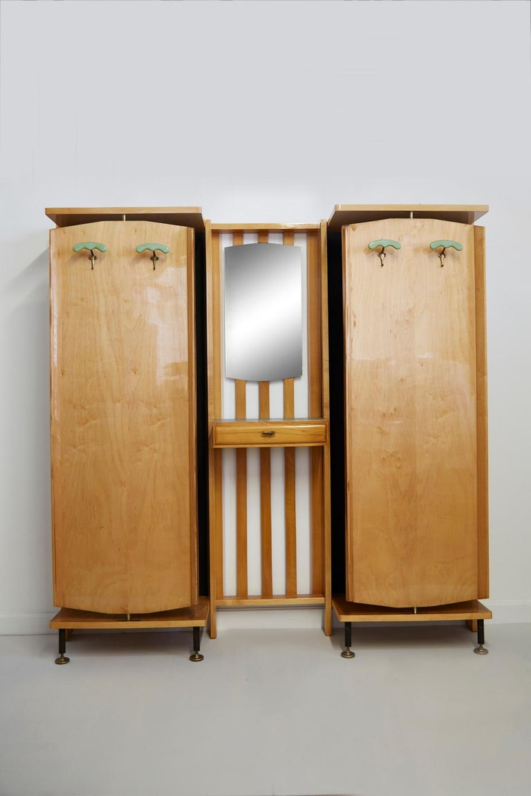 Mid-Century Modern Wall-Mounted Revolving Coat Rack with Vanity by Enzo Strada, 1950s For Sale