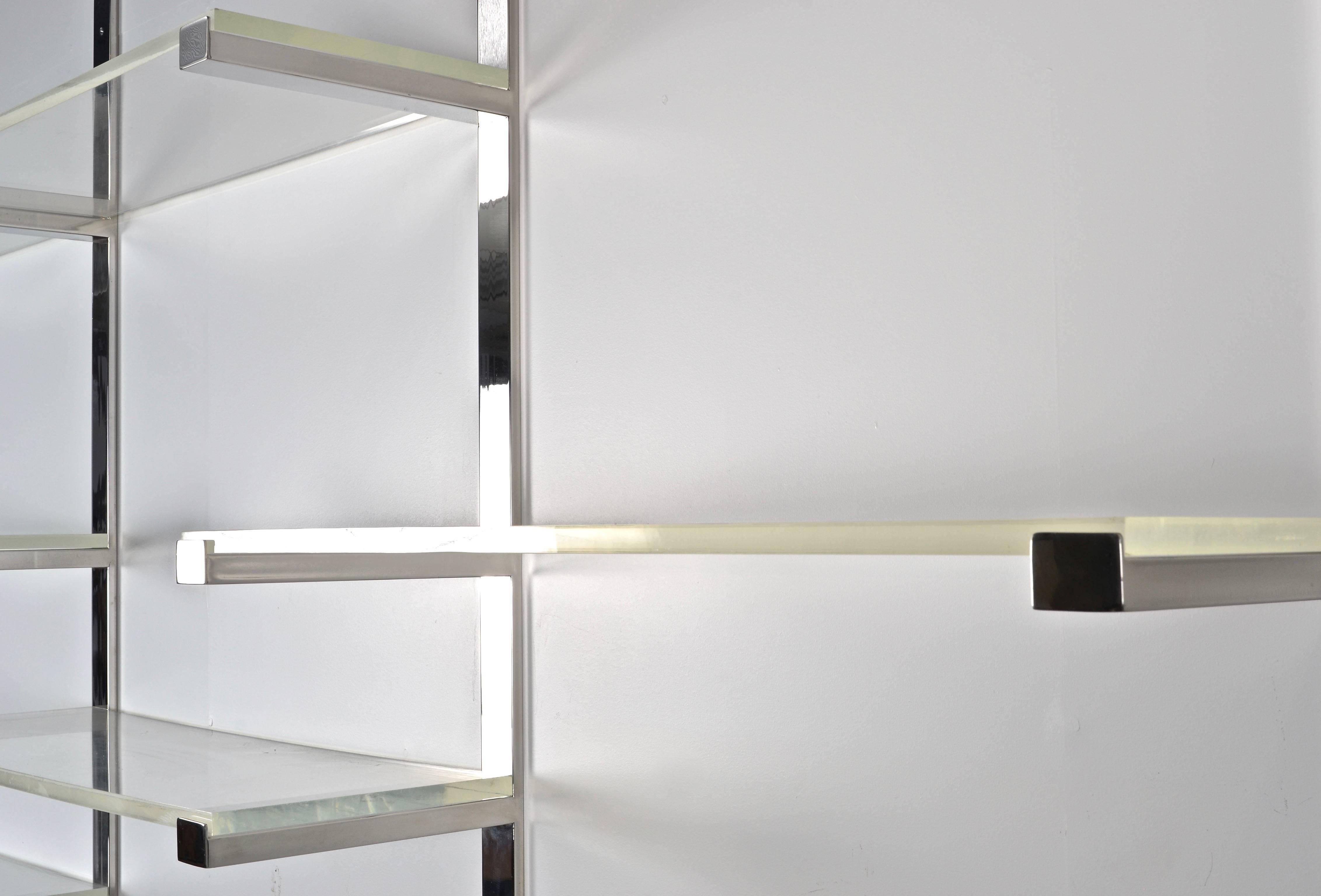 Wall Mounted Shelving Unit In Chrome And Lucite 1970s At