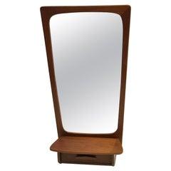 Wall Mounted Teak Mirror with Storage or Vanity