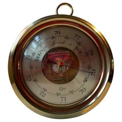 Wall Mounted Vintage Barometer, Weather Station in Brass, Barigo Germany