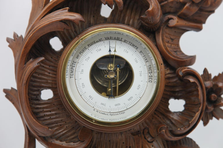 Rococo Revival Wall-Mounted Weather Station in Rococo-Style Carved Walnut by De Lambert, 1910s For Sale