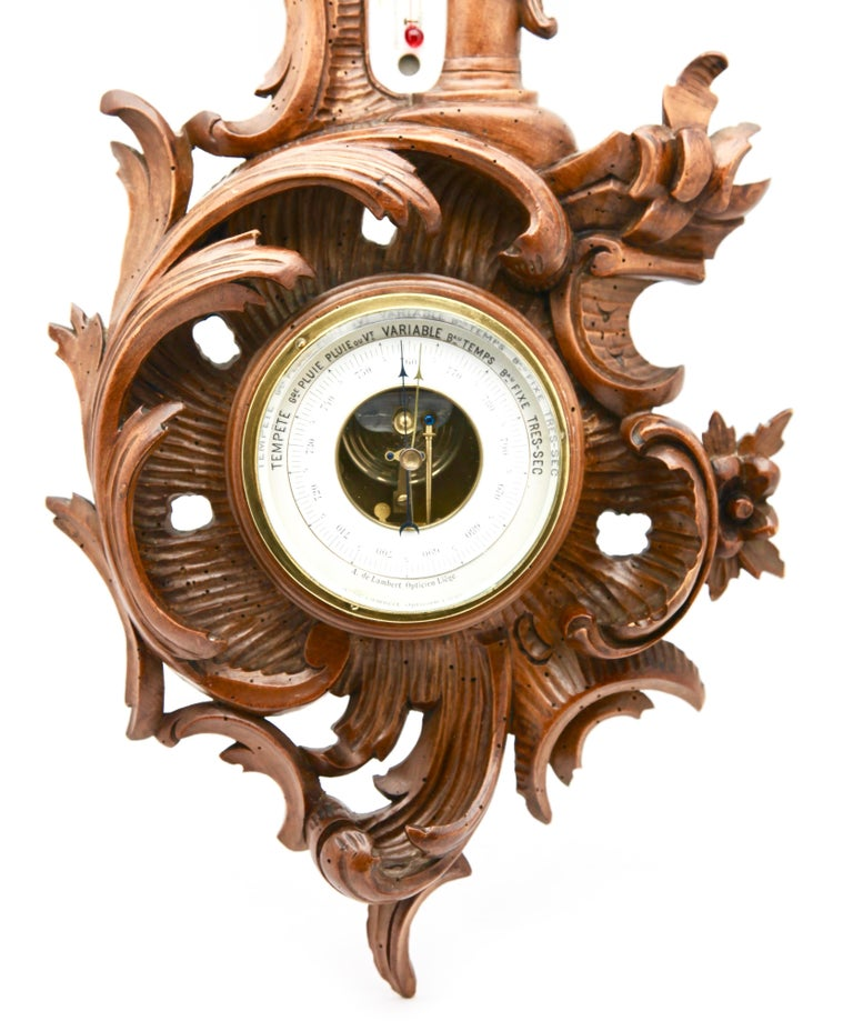 Belgian Wall-Mounted Weather Station in Rococo-Style Carved Walnut by De Lambert, 1910s For Sale