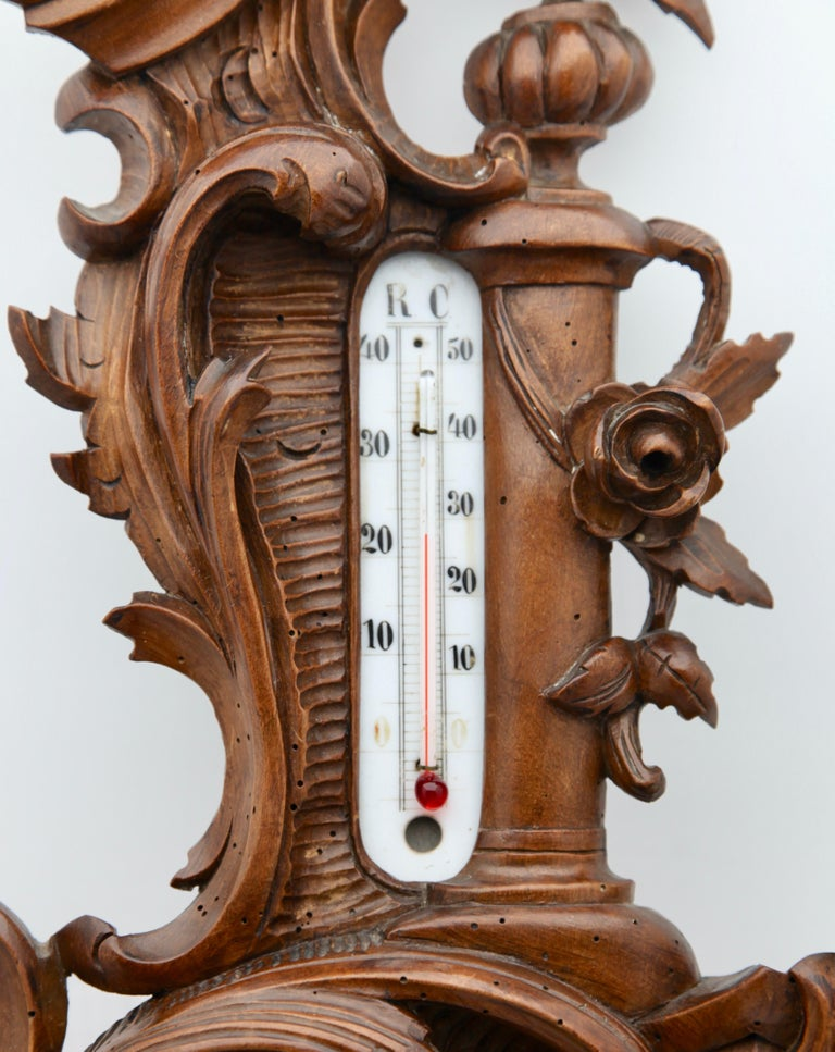 Hand-Carved Wall-Mounted Weather Station in Rococo-Style Carved Walnut by De Lambert, 1910s For Sale