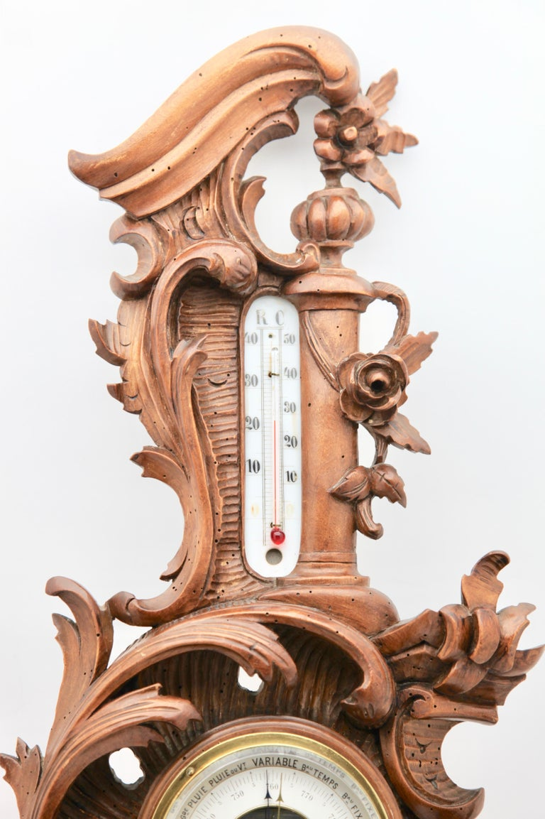 Wall-Mounted Weather Station in Rococo-Style Carved Walnut by De Lambert, 1910s In Good Condition For Sale In Verviers, BE