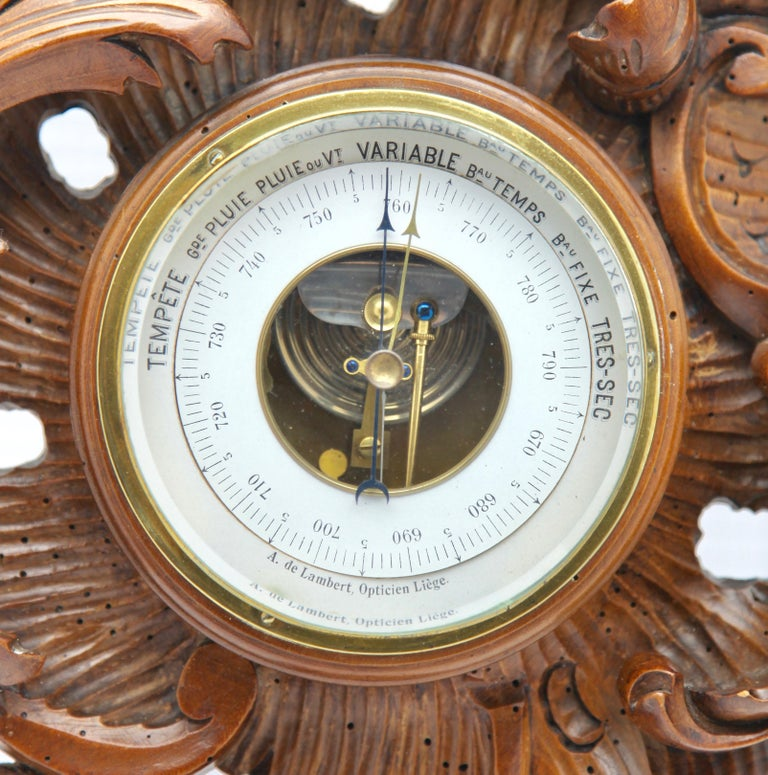 Early 20th Century Wall-Mounted Weather Station in Rococo-Style Carved Walnut by De Lambert, 1910s For Sale