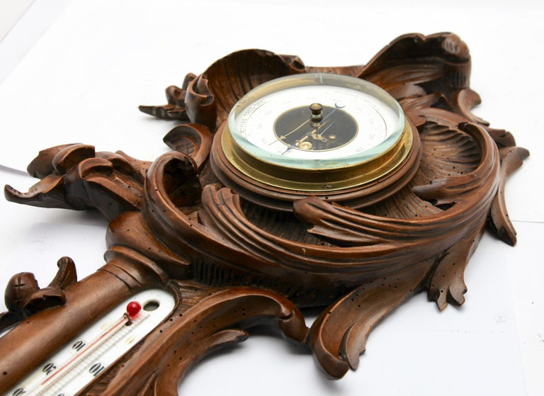 Wall-Mounted Weather Station in Rococo-Style Carved Walnut by De Lambert, 1910s For Sale 1