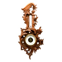 Wall-Mounted Weather Station in Rococo-Style Carved Walnut by De Lambert, 1910s