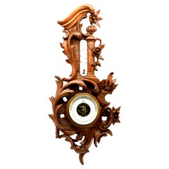 Wall-Mounted Weather Station in Rococo Style Carved Walnut by De Lambert, 1910s