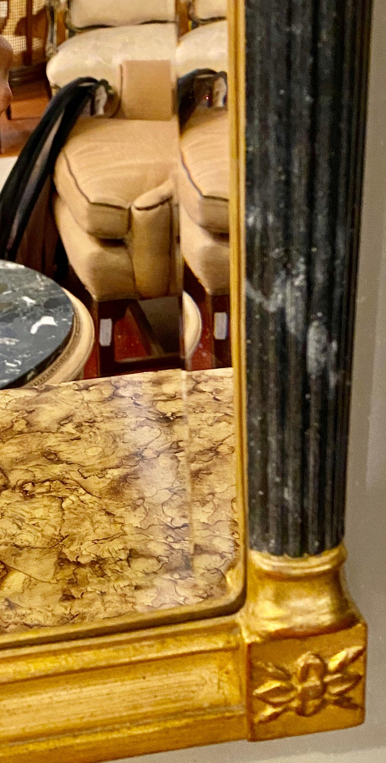 Wall or Console Mirrors Pair Neoclassical Ebony and Parcel Gilt Decorated For Sale 7