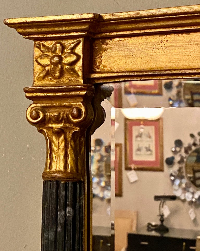 20th Century Wall or Console Mirrors Pair Neoclassical Ebony and Parcel Gilt Decorated For Sale