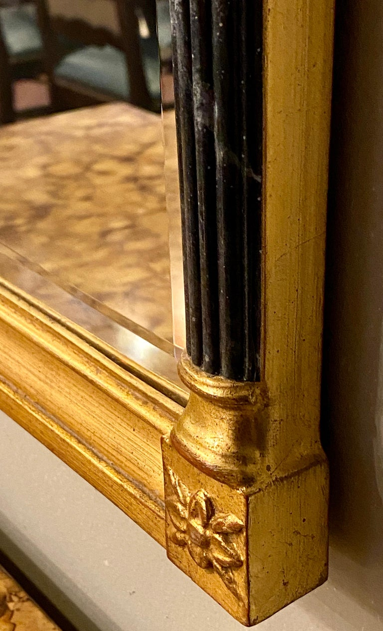 Wall or Console Mirrors Pair Neoclassical Ebony and Parcel Gilt Decorated For Sale 3