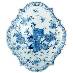 Wall Plaque Dutch, 18th Century, Delftware, Blue and White, Chinoiserie, Pottery