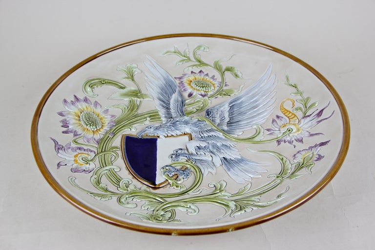 Hand-Painted Wall Plate Majolica by Wilhelm Schiller & Son, Bohemia, circa 1890 For Sale