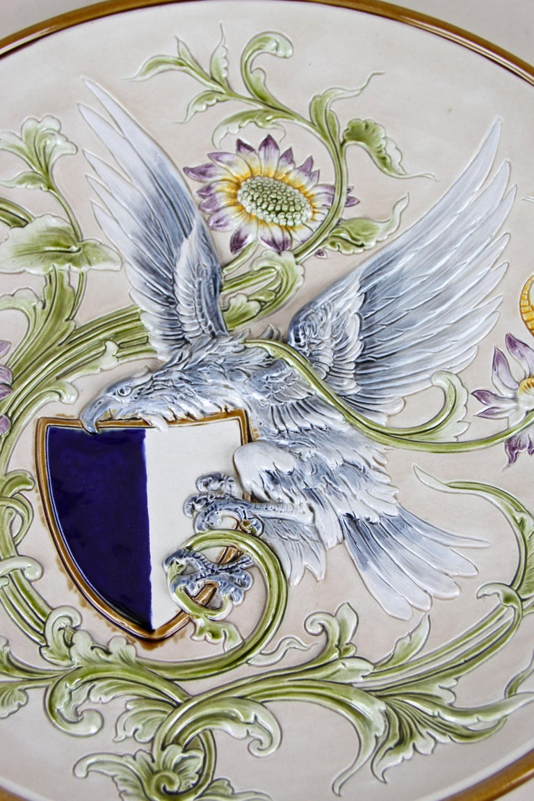 Wall Plate Majolica by Wilhelm Schiller & Son, Bohemia, circa 1890 In Good Condition For Sale In Lichtenberg, AT