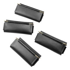 Wall Pocket in Black Leather and Brass by Moses Nadel