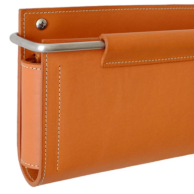 Modern Wall Pocket by Moses Nadel in saddle brown leather and stainless steel  For Sale