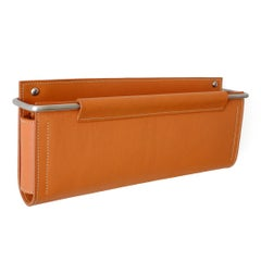 "Wall Pocket 12""Lx1.5""Dx5""H in Saddle Leather and Stainless Steel by Moses Nadel"