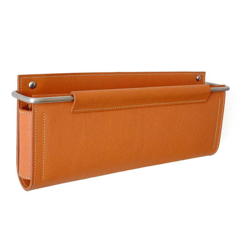 Wall Pocket by Moses Nadel in saddle brown leather and stainless steel  For Sale