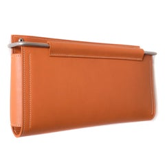 "Wall Pocket 12""Lx1.5""x7""H in Saddle Leather and Stainless Steel by Moses Nadel"