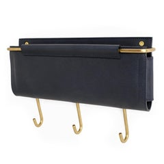 "Wall Pocket 12""L x 1.5""W x 5""H in Navy Leather and Brass with 3 Hooks by Moses N"