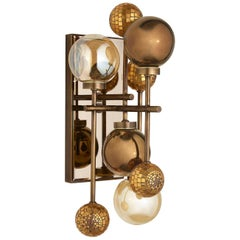 Wall Sconce Brass Frame Nickel or Brass Finish Glass Spheres Artistic Mosaic