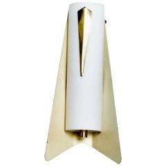 Italy 1950s Wall Sconce Aerodynamic Design STILNOVO in Aluminum White with Brass