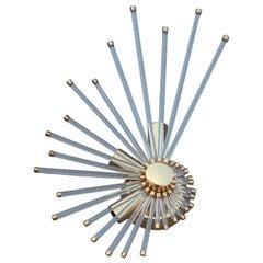 Wall Sconce Gold Brass Stilkronen 1970 Italian Design Shell Crystal Part