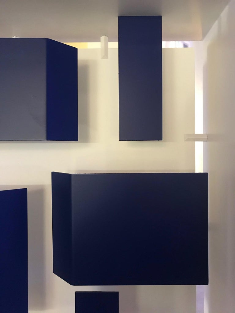 Italian Wall Sconce Screen of Light by Gio Ponti Italy Limited Edition Varnished Blue For Sale