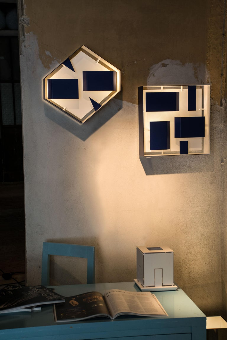 Contemporary Wall Sconce Screen of Light by Gio Ponti Italy Limited Edition Varnished Blue For Sale