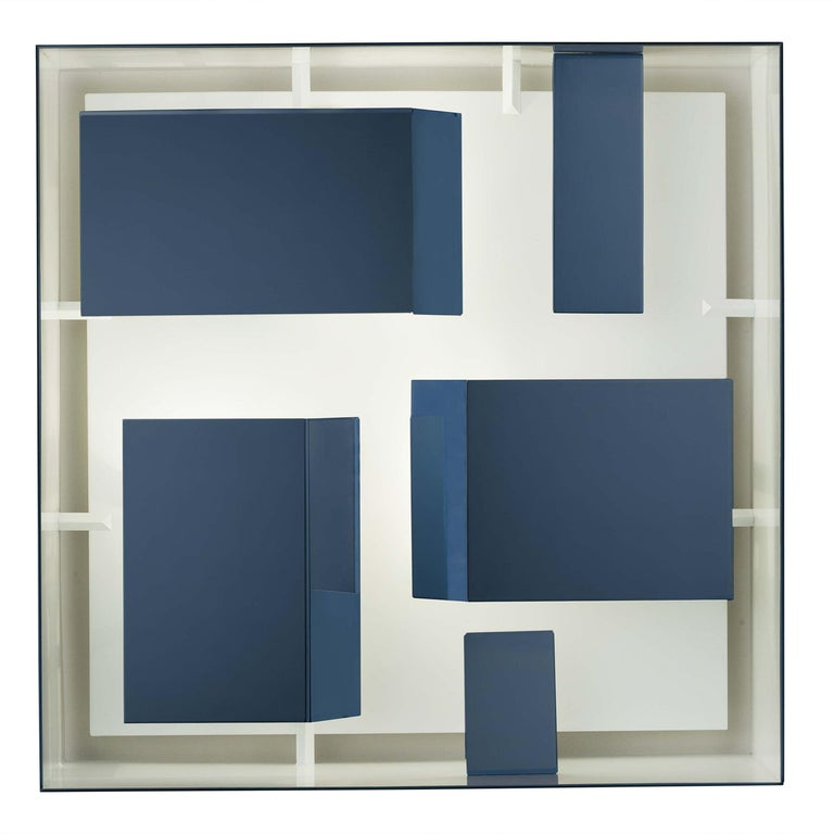 Wall Sconce Screen of Light by Gio Ponti Italy Limited Edition Varnished Blue For Sale