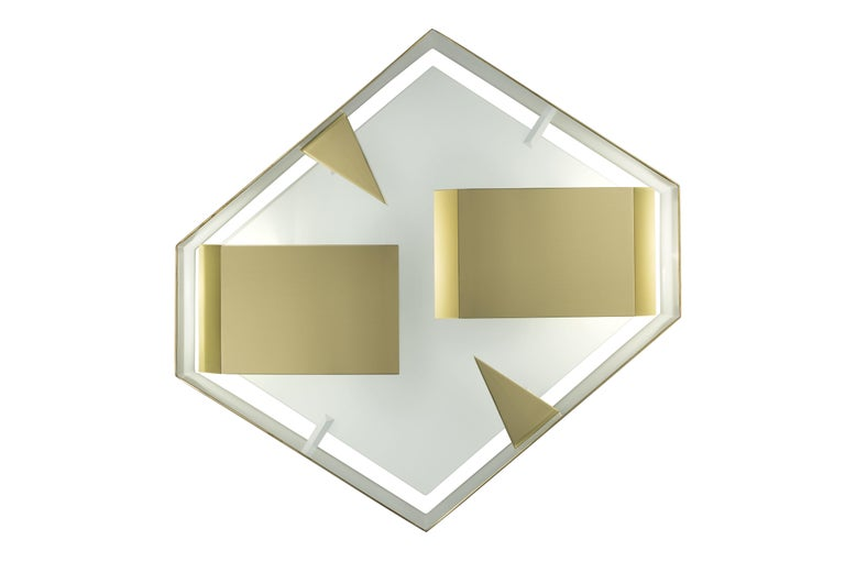 Modern Wall Sconce Screen of Light by Gio Ponti Limited Edition Italy Polished Brass For Sale
