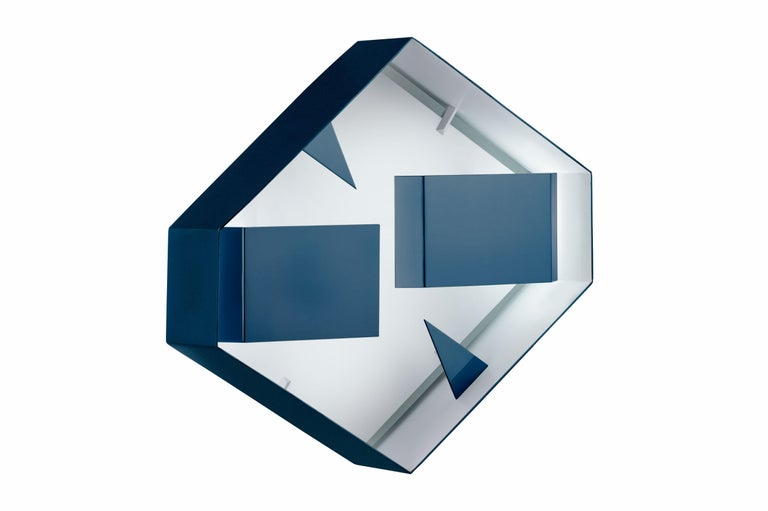 Wall sconce hexagonal 'Screen of Light' design Gio Ponti Italy Limited Edition, varnished blue inside white