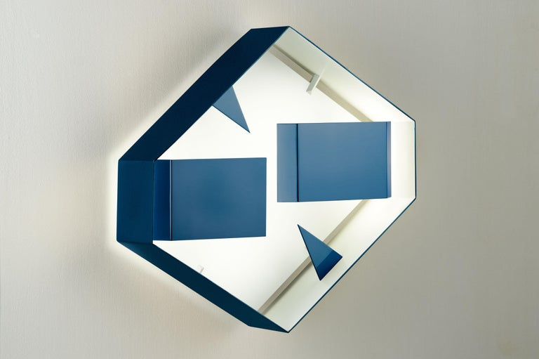 Modern Wall Sconce Screen of Light Design Gio Ponti Limited Edition Varnished Blue For Sale