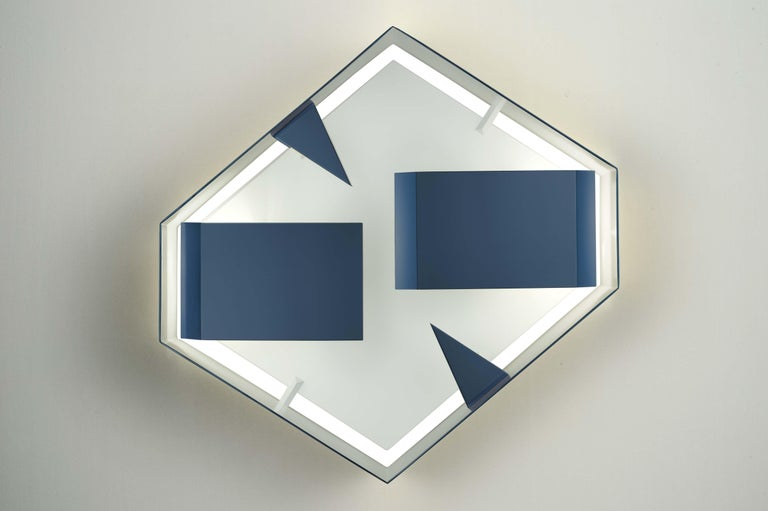 Italian Wall Sconce Screen of Light Design Gio Ponti Limited Edition Varnished Blue For Sale
