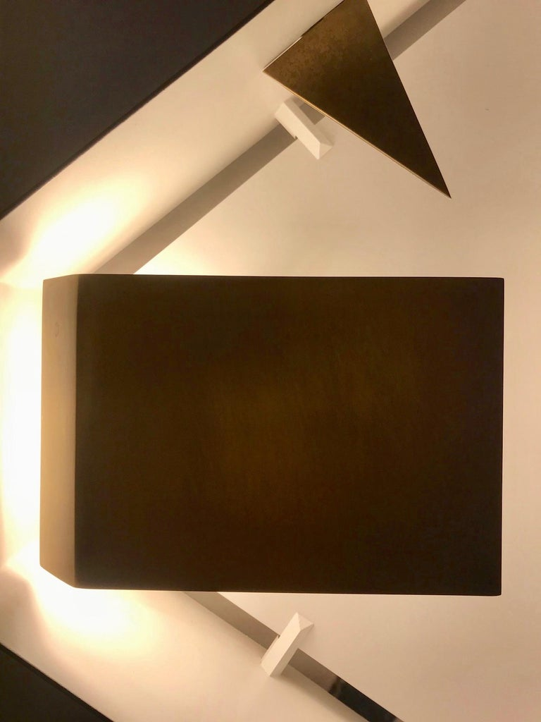 Wall sconce screen of light hexagonal Gio Ponti Limited Edition Italy 2012 2017 light bronzed brass  Wall sculpture light bronzed brass, timeless, iconic design. Handcrafted product, realized by Pollice Illuminazione from the original drawings of