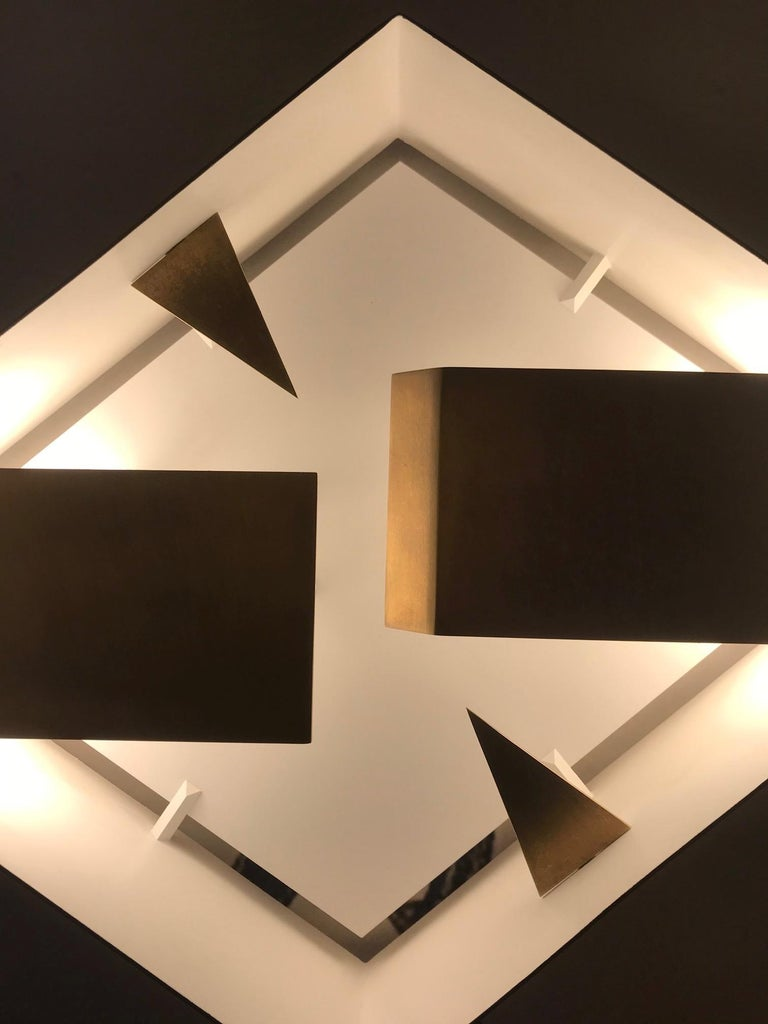 Modern Wall Sconce Screen of Light Gio Ponti Limited Edition 2012 2017 Bronzed Brass For Sale