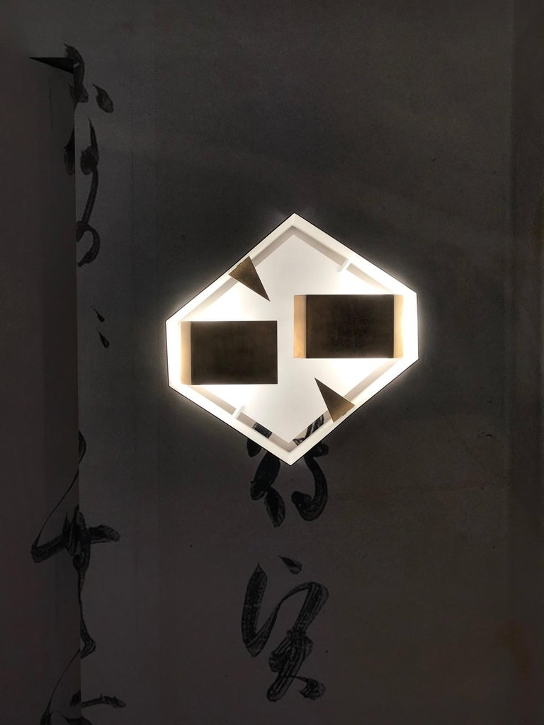Italian Wall Sconce Screen of Light Gio Ponti Limited Edition 2012 2017 Bronzed Brass For Sale
