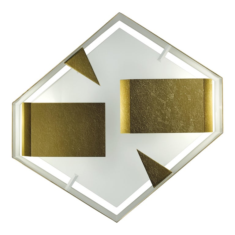 Wall Sconce Screen of Light Gio Ponti Limited Edition 2012 2017 Bronzed Brass For Sale