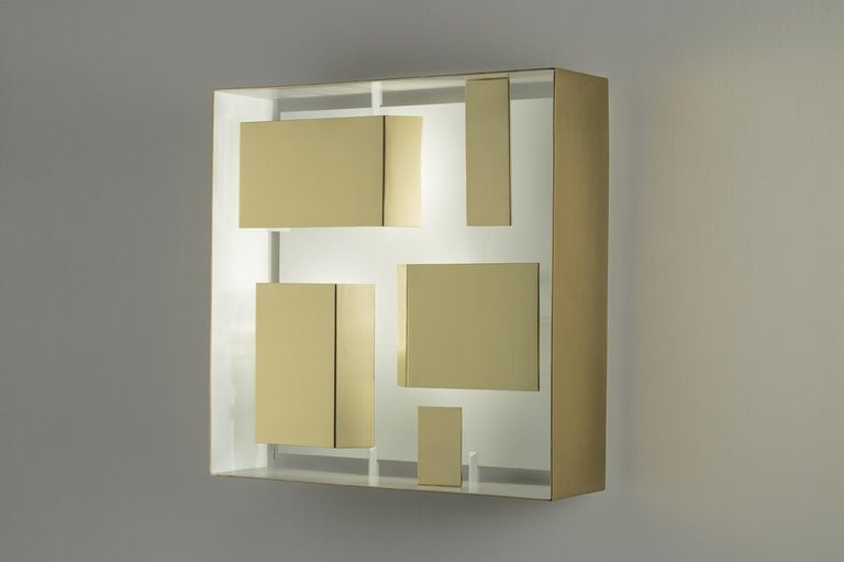 Wall sconce square 'Screen of Light' Gio Ponti limited edition Italy 2012-2017 polished brass  Wall sculpture light in polished brass, timeless, iconic design. Handcrafted product, realised by Pollice Illuminazione from the original drawings of Gio