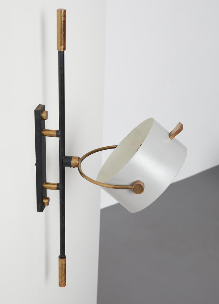 Glass Wall Sconce with Lens Shaped Reflector by Maison Lunel, France, 1950 For Sale