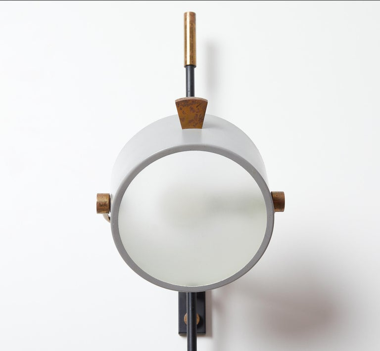 Wall Sconce with Lens Shaped Reflector by Maison Lunel, France, 1950 For Sale 1