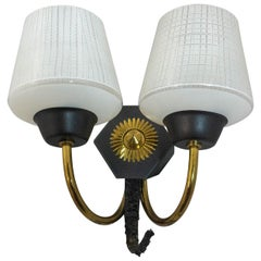 Wall Sconce with Two-Light Original Glass and Brass Midcentury, French