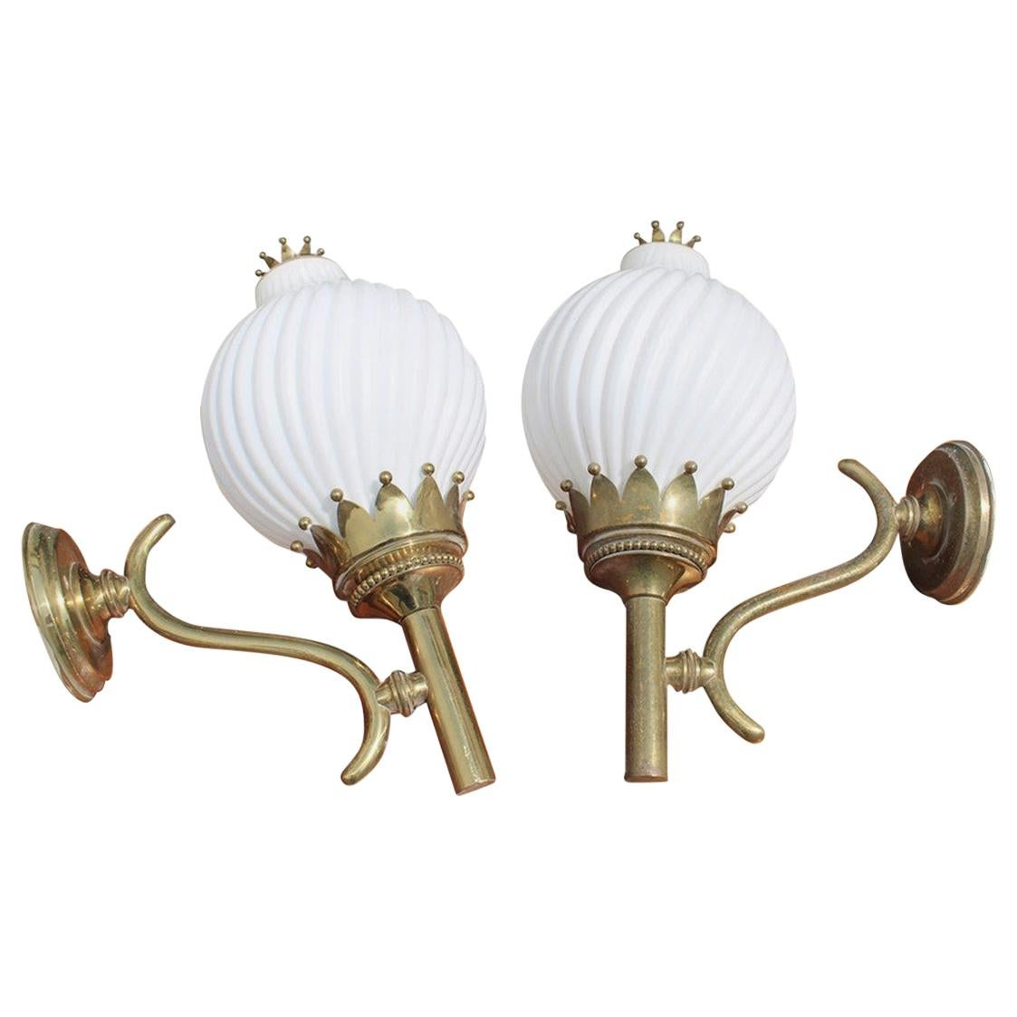 Pair Wall Sconces Angelo Lelii for Arredoluce Monza 1961 Tortiglioni Gold Brass
